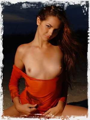 Hot angel with long hair and hot body is burning you with her high sensuality on the night sky.